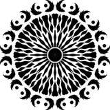Rund designfjäder, svartvita runda designskarvsidor fågelvingar, fågelfjäder royaltyfri illustrationer