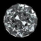 Rund diamant - som isoleras på svart bakgrund Arkivfoto
