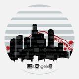 Rund etikett för Los Angeles konturvektor stock illustrationer