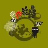 Rund etikett med den svarta katten. Fotografering för Bildbyråer