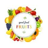 Rund etikett med frukter vektor illustrationer