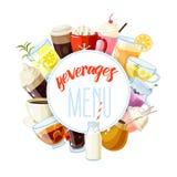 Rund etikett med icke-alkoholist drycker royaltyfri illustrationer