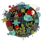 Rund etikettmodell med flora och fisken. Royaltyfri Foto
