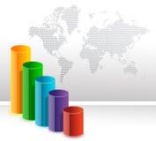 rund färgrik graf för bakgrundsstångaffär Arkivbilder