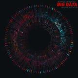 Rund färgrik visualization för stora data Futuristiskt infographic Estetisk design för information Visuell datakomplexitet Royaltyfri Fotografi