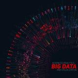 Rund färgrik visualization för stora data Futuristiskt infographic Estetisk design för information Visuell datakomplexitet Arkivbild