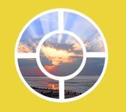 Rund fönstersikt för Sunburst Royaltyfria Bilder