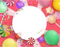 Rund festlig bakgrund för rosa färger med färgrika sötsaker vektor illustrationer