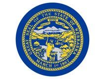 Rund flagga av USA staten av Nebraska royaltyfri illustrationer