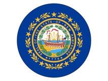 Rund flagga av USA tillståndet av New Hampshire royaltyfri illustrationer