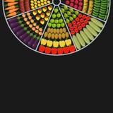 Rund form för Countertop med frukter och grönsaker royaltyfri illustrationer
