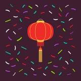 Rund form för röd kinesisk lykta med ljusa konfettier Vektordesignbeståndsdelen kan användas för att hälsa affischen, partiinbjud vektor illustrationer