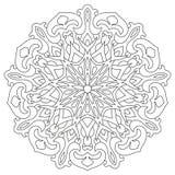 Rund geometrisk prydnad Rund översiktsMandala för sida för färgläggningbok royaltyfri illustrationer