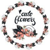 Rund girland med körsbärsröda blommor för säsong vektor illustrationer