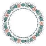 Rund girland med säsongtusenskönablommor vektor illustrationer
