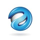 Rund glansig bokstav 3d en blått Logo Icon royaltyfri illustrationer