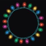 Rund gräns av lampor för julljus vektor illustrationer