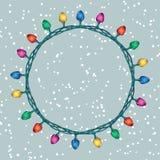 Rund gräns av lampor för julljus stock illustrationer