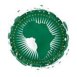 Rund grungeflagga av afrikanska unionen med färgstänk i flaggafärg stock illustrationer