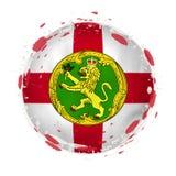 Rund grungeflagga av Alderney med färgstänk i flaggafärg vektor illustrationer
