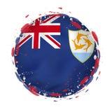 Rund grungeflagga av Anguilla med färgstänk i flaggafärg vektor illustrationer