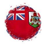Rund grungeflagga av Bermuda med färgstänk i flaggafärg vektor illustrationer