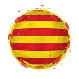 Rund grungeflagga av Catalonia med färgstänk i flaggafärg royaltyfri illustrationer
