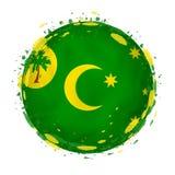 Rund grungeflagga av Cocosöar med färgstänk i flaggafärg vektor illustrationer