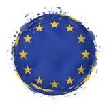 Rund grungeflagga av europeisk union med färgstänk i flaggafärg royaltyfri illustrationer