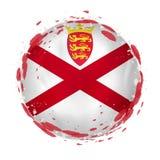 Rund grungeflagga av Jersey med färgstänk i flaggafärg vektor illustrationer