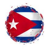 Rund grungeflagga av Kuban med färgstänk i flaggafärg royaltyfri illustrationer