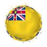 Rund grungeflagga av Niue med färgstänk i flaggafärg royaltyfri illustrationer