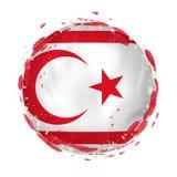 Rund grungeflagga av nordliga Cypern med färgstänk i flaggafärg royaltyfri illustrationer
