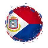 Rund grungeflagga av Sint Maarten med färgstänk i flaggafärg vektor illustrationer