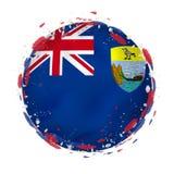 Rund grungeflagga av St Helena med färgstänk i flaggafärg vektor illustrationer