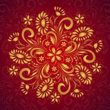 Rund guld- blom- prydnad Royaltyfria Foton