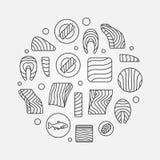 Rund illustration för lax eller för forell Röd fisklinje tecken för vektor vektor illustrationer