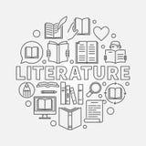 Rund illustration för litteratur vektor illustrationer