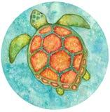 Rund illustration för vattenfärg av att se sköldpaddan från över royaltyfri illustrationer