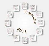 Rund kalender 2016 royaltyfri illustrationer