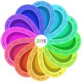 Rund kalender för 2015 vektor illustrationer