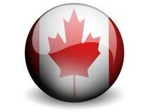 rund Kanada flagga stock illustrationer