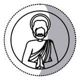Rund klistermärke med kontur av halvt kroppbildSt Joseph be stock illustrationer
