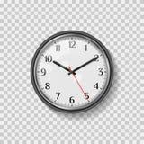 Rund klocka för vägg för kvartsmotsvarighet Minimalistic modern kontorsklocka Klockaframsida med arabiska tal Realistisk vektorko royaltyfri illustrationer