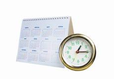 Rund klocka med kalendern Arkivbild