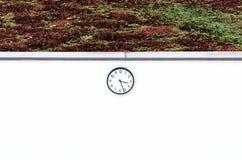 Rund klocka på en vit vägg Arkivbilder