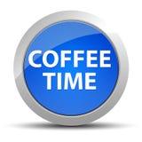 Rund knapp för kaffeTid blått royaltyfri illustrationer
