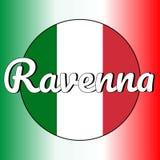Rund knappsymbol av nationsflaggan av Italien med röda, vita och gröna färger och inskrift av stadsnamnet: Ravenna in royaltyfri illustrationer