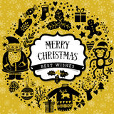 Rund krans för vektor, mall för julhälsningkort, glad jul Design för vinterferie, ramkransdesign som göras av chil Arkivfoton