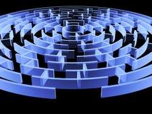 Rund labyrint 3d av blåttfärg Stock Illustrationer